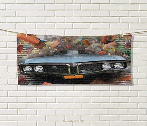 Anniutwo Cars,Travel Towel,Graffiti Featured Graphic Crashing Automobile on A Brick Wall Underground Street Style,100% Microfiber,Multi Size: W 12'' x L 27.5'' by Anniutwo