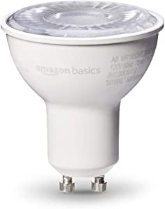 AmazonBasics 50 Watt 10,000 Hours Dimmable 500 Lumens GU10 Base LED Light Bulb - Pack of 6, Daylight (Renewed)