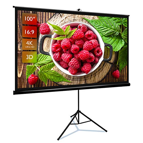 Upgraded Projector Screen with Stand 100 inch 16:9 HD 4K Indoor and Outdoor Movie Projection Screen with Premium Wrinkle-Free and Pull-Up Design Portable Projector Screen for Office Home Theater.
