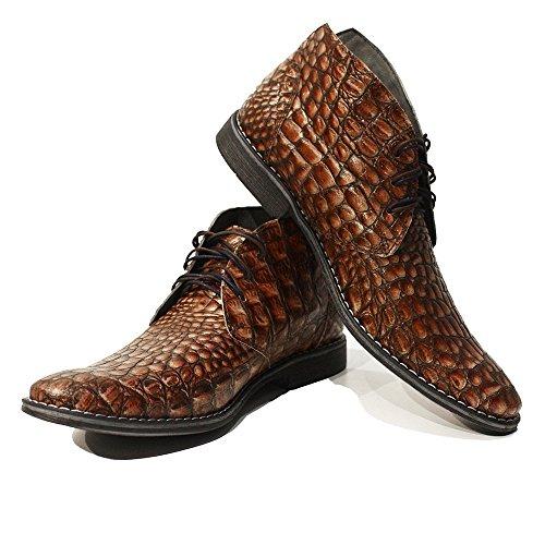PeppeShoes Modello Umberto - 10 US - Handmade Italian Mens Brown Ankle Chukka Boots - Cowhide Embossed Leather - Lace-up (Italian Handmade Brown Leather Boots)