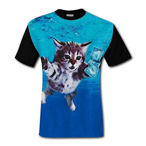 CherryC Cat Cobain Sweat Men's T-Shirt Graphic Print Short Sleeve Brisk Tee Shirt - Cat Cobain