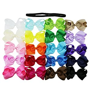 Yiho 4.5 Inch 20pcs Baby Girls Boutique Alligator Clip Grosgrain Ribbon Hair Bows Clips Give An Elastic Headband Tie For Girls And Baby As A Gift