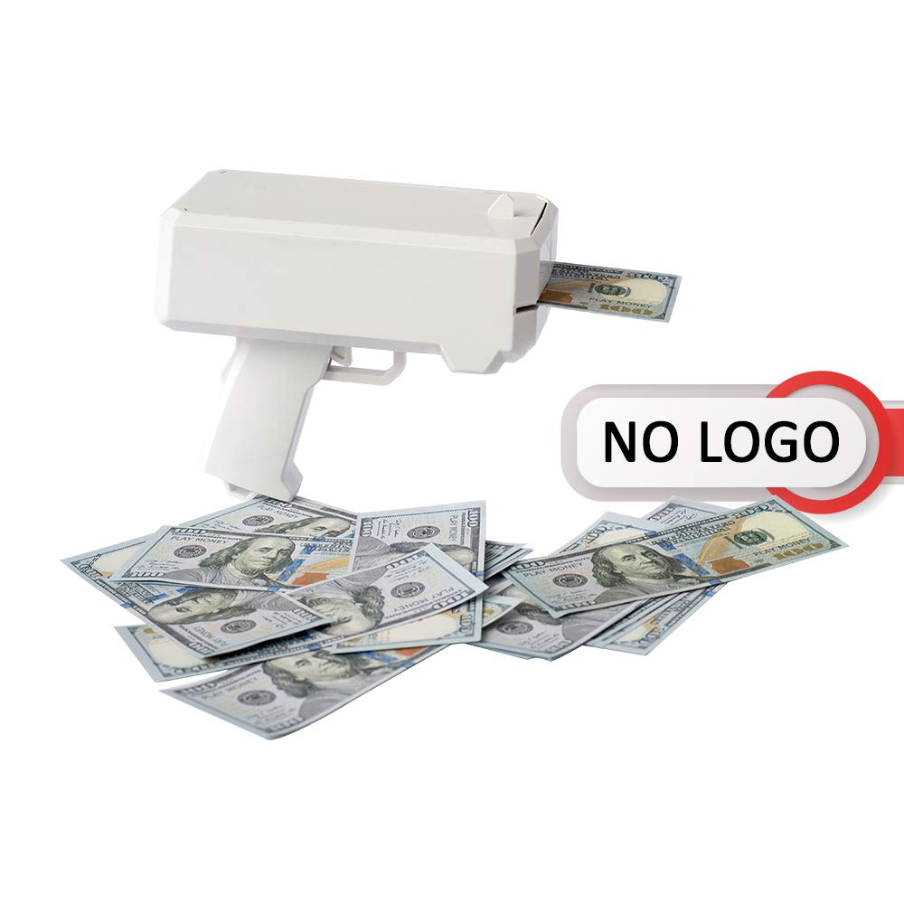 Money Gun - Dollar Shooter Cash Cannon - White NO Logo - 100 Fake Replica Bills - Great for Parties
