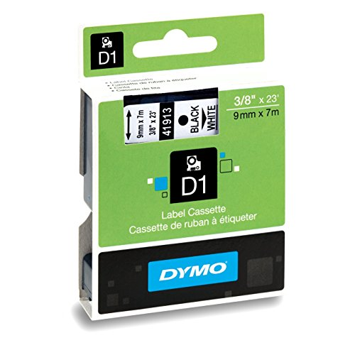 DYMO Standard D1 Labeling Tape for LabelManager Label Makers, Black print on White tape, 3/8'' W x 23' L, 1 cartridge (41913)