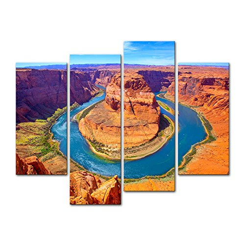 4 Pieces Modern Canvas Painting Wall Art The Picture For Home Decoration Arizona Horseshoe Bend Meander Of Colorado River In Glen Canyon Usa Landscape Canyon Print On Canvas Giclee Artwork For Wall Decor