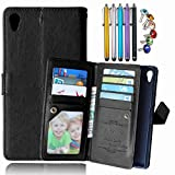 LEMORRY Sony Xperia Z5 Wallet Case, 2in1 TPU Cover + Flip Premium PU Leather Magnetic Bumper Protective Pouch Black