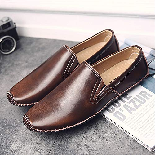 42 Dimensione morbida Colore con Shoes Marrone pelle Uomo per antiscivolo Slip on Mocassini Fuxitoggo Driving in suola morbida Marrone EU wzq1fazUv