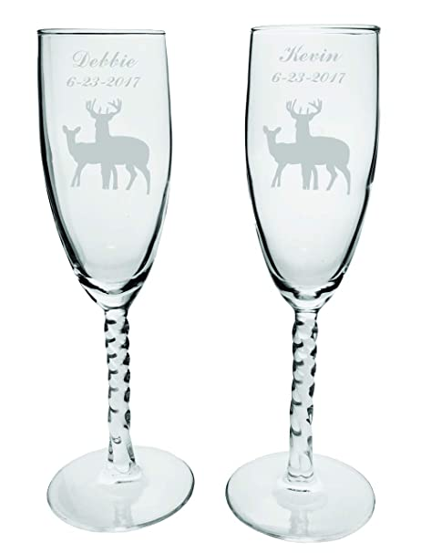 Personalised Happy Birthday Name /& Stars Flute Glass Wedding 22 Colour