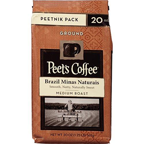 Peet's Coffee Peetnik Tamp stop Brazil Minas Naturais, Medium Roast, Ground 20oz. Bag