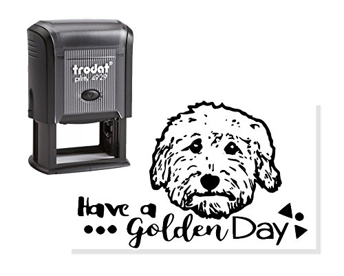 - Goldendoodle stamp - self inking Doodle dog stamp - perfect for Goldendoodle gifts - Have a Golden Day text - I love my Goldendoodle