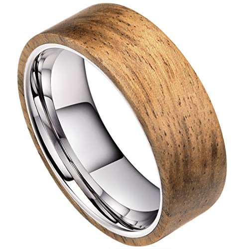 DOUX Tungsten Carbide Wedding Ring Wood Inlay Surface High Polished Flat Style 8.5