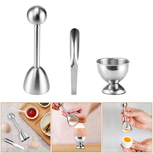 Egg Topper, ALLOMN Stainless Steel Egg Cutter Hard Soft Boiled Egg Cracker with Spoon and Cup Holder by ALLOMN
