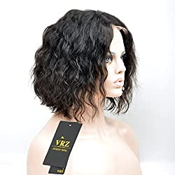 VRZ Short Wavy Lace Front Human Hair Wigs Natural Color 8inch (AEM-NC)