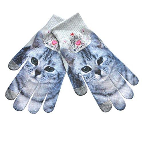 Kanzd Men Women Winter Warm 3D Print Knitted Phone Screen Kitty Pet Cute Cartoon Animals Gloves (A)