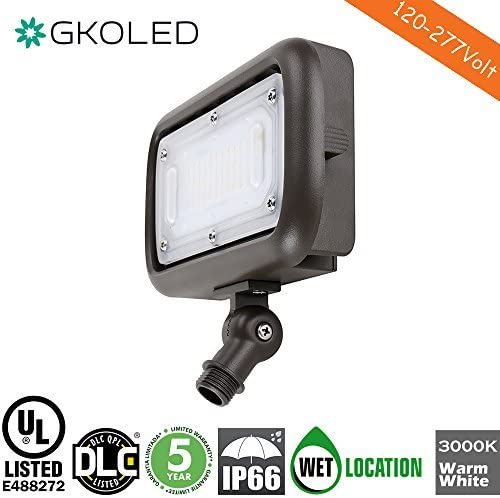 GKOLED 30W LED Floodlight, Outdoor Security Fixture, Waterproof, 100W PSMH Replace, 2700 Lumens, 3000K Warm White, 70CRI, 120-277V, 1 2 Adjustable Knuckle Mount, UL-Listed, 5 Years Warranty