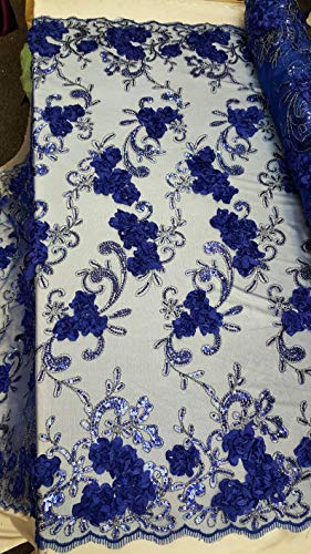 Royal Blue Sequin lace 3D Floral Flowers Embroidered Prom Fabric Sold by The Yard Gown Quinceañera Bridal Evening Dress Decoration Draping