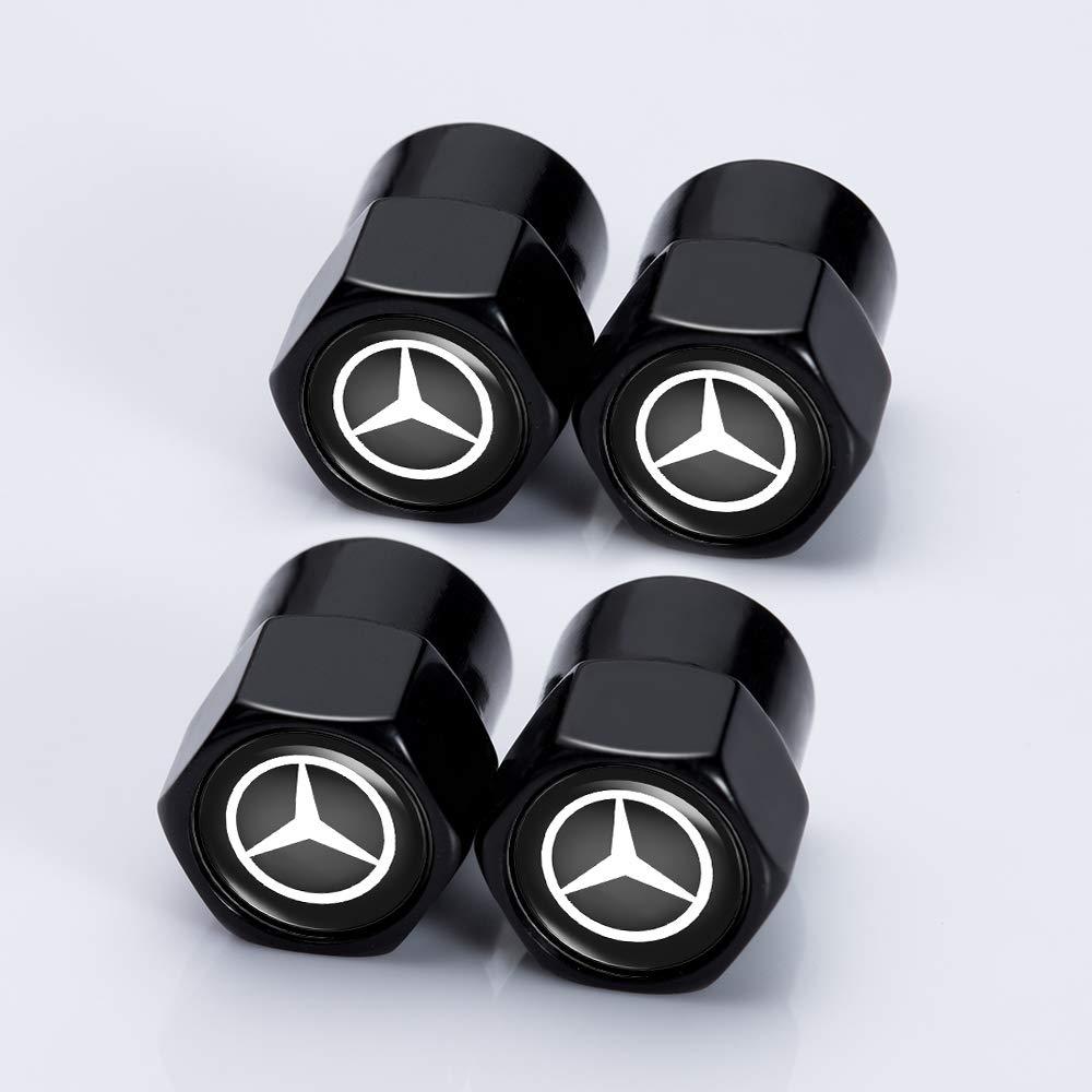 Jazzshion 4 Pcs Metal Car Wheel Tire Valve Stem Caps for Mercedes Benz C E S M CLS CLK GLK GL A B AMG GLS GLE Logo Styling Decoration Accessories