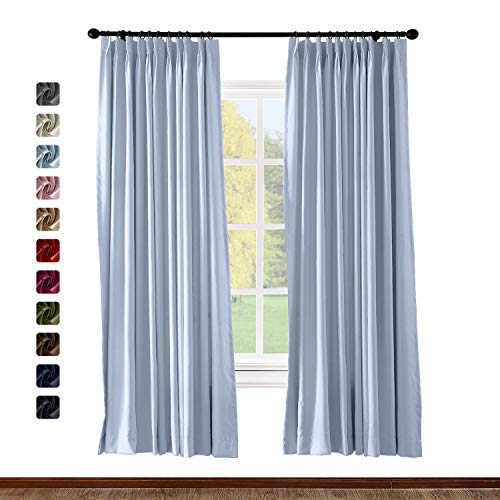 BeyondEC Pinch Pleat Curtain Solid Thermal Insulated Blackout Patio Door Panel Drape for Traverse Rod and Track, Sky Blue 50Wx63L Inch (1 Panel)