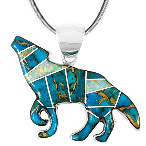 Coyote Wolf Pendant Necklace Sterling Silver 925 Genuine Turquoise Gemstones 24 Length