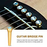 6Pcs Guitar Bridge Pins Brass Acoustic Guitar Bone Bridge Pins with Crystal Glass Dot Decor Music Instrument Parts for Folk Guitar(Sky Blue)