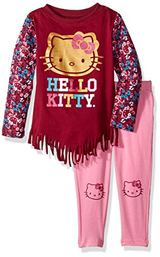 (Hello Kitty Toddler Girls' 2 Piece Long Sleeve and Legging Set, Maroon Red,)