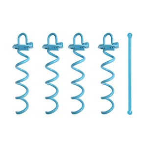 Gray Bunny GB-6873A4 Spiral Ground Anchor, 10 Inch, 4 Pack, with Folding Ring for Securing Tents, Canopies, Tarps, Trampoline, Swing Sets, Powder-Coated Solid Steel Earth Auger