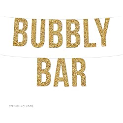 Andaz Press Real Glitter Paper Pennant Hanging Banner, Bubbly Bar, Gold Glitter, Includes String, 1-Set, Alcohol Open Bar Champagne Bridal Shower Wedding Decorations