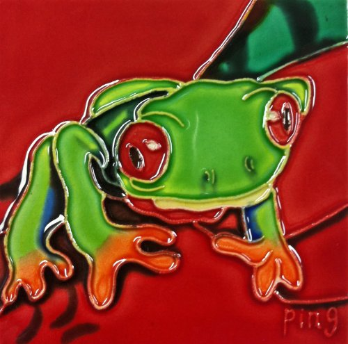 Continental Art Center SD-096 4 by 4-Inch Frog No.6 Ceramic Art Tile ()