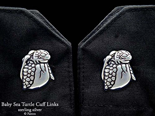 Baby Sea Turtle Hatching Cuff Links in Solid Sterling Silver Hand Carved & Cast by Paxton by Paxton Jewelry