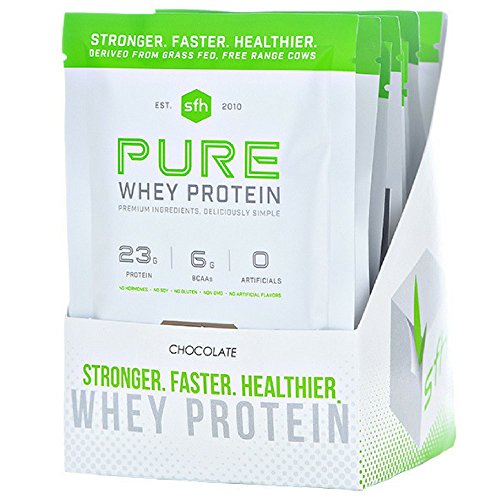 Pure Whey Protein Powder (Chocolate) by SFH | Best Tasting 100% Grass Fed Whey | All Natural | 100% Non-GMO, No Artificials, Soy Free, Gluten Free | (Chocolate, 10 Single Serve Pouches)