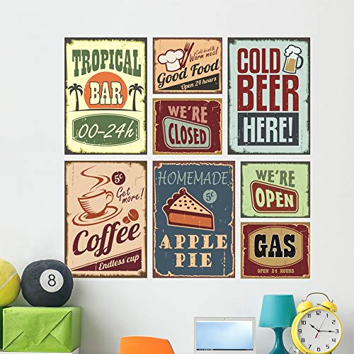 Wallmonkeys Vintage Style Signs Wall Mural Peel and Stick Vinyl Graphic (48 in H x 46 in W) - Logo Wall 46 Inch Art
