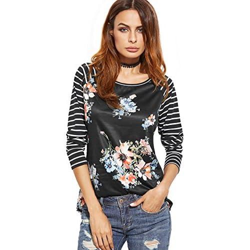 Hot Floerns Women's Floral Print Stripe Raglan Sleeve Baseball T Shirt for sale