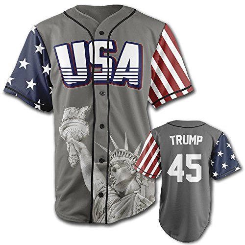 American Flag Baseball Jersey (USA Grey Trump #45 XL)