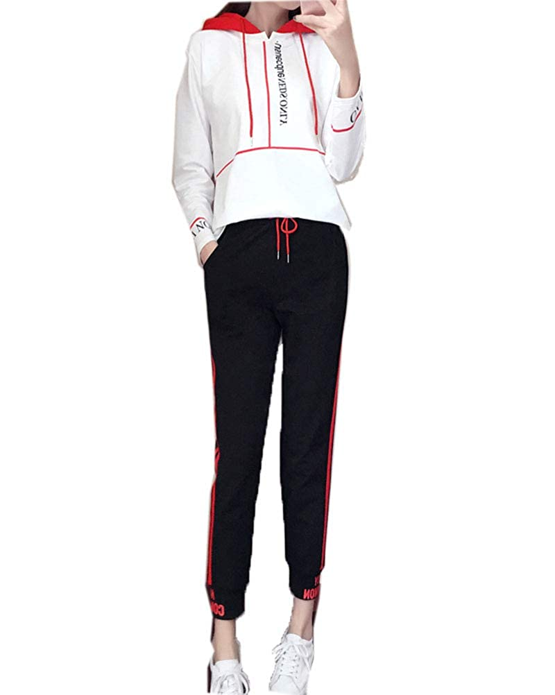 Damen Zweiteiler Sportanzug Jogginganzug Langarm Tracksuit Sweatshirt Kapuzenpullover Sets Stretch Jogginghose