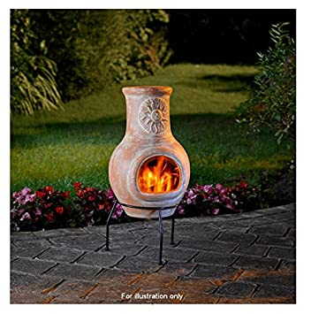 Garden Sunshine Clay Terracotta Log Burner Firepit U0026 Chimenea Outdoor  Heating