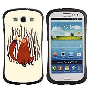"""Pulsar iFace Series Tpu silicona Carcasa Funda Case para SAMSUNG Galaxy S3 III / i9300 / i747 , Fox Arte de la pintura del bosque Naturaleza Hojas de otoño"""""""