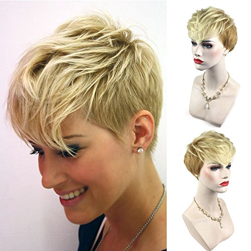 Full Human Hair Gold Wigs Short Curly Wigs Natural Synthetic (a)