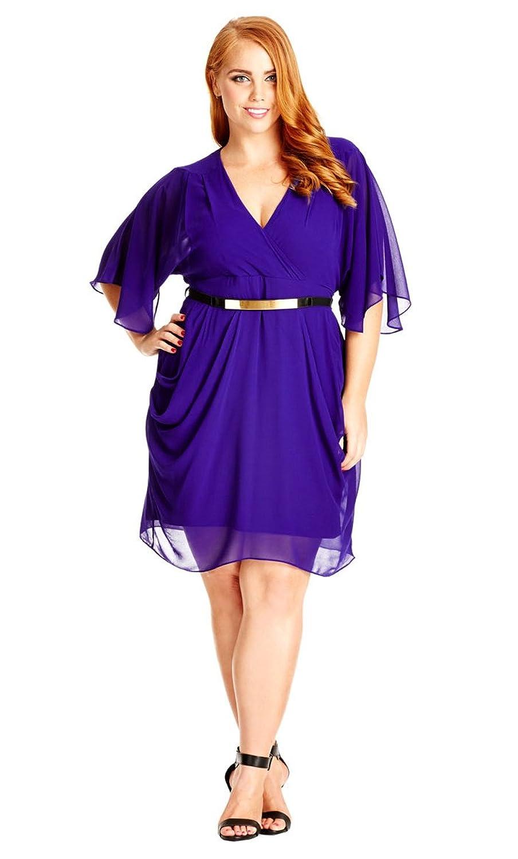 Plus Size Faux Wrap Drape Dress