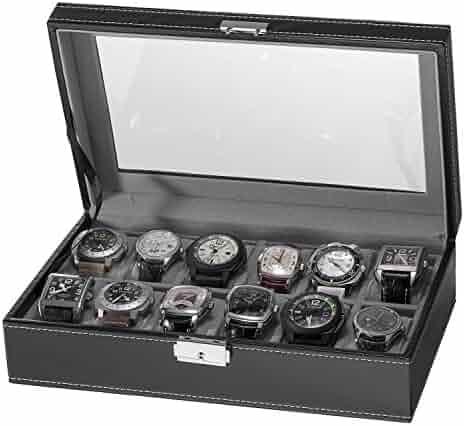 Sorbus 12 Slot Watch Box, Black