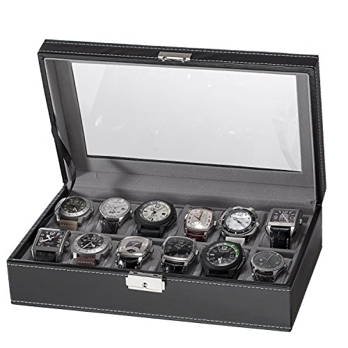 Sorbus 12 Slot Watch Box, Black (Vintage Jewel Box)