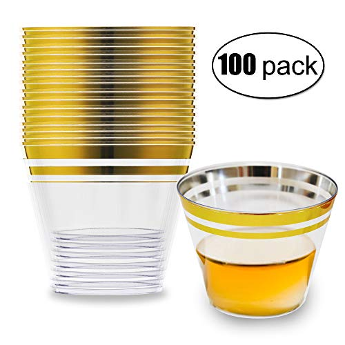 100 Gold Plastic Cups, 9 Oz Plastic Cups, Gold Rim Plastic Cups, Plastic Wine Glasses for Parties, Cocktail Fancy Glasses, Disposable Clear Plastic Cups, Elegant Party Cups for wedding decorations