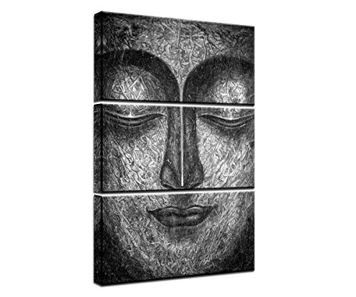 Yatsen Bridge Modern Giclee Canvas Printed Wall Art Posters Painting 3 Pieces Black and White Buddha Face Wall Decor Buddha Statue Home Decoration Pictures With Wooden Frame 20''Wx42''H - 20' Buddha Statue