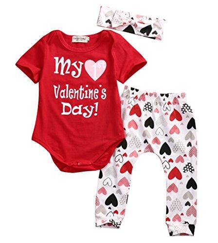 Newborn Baby Girls My 1st Valentine 's Day Bodysuit + Red Hearts Pant Leggings Hairband 3 Piece Outfits (6-12M, Red) (Valentines Outfits For Baby Girls)