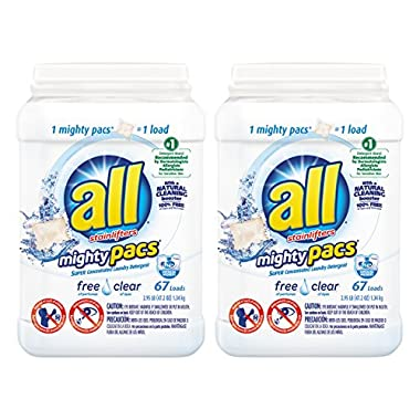 all Mighty Pacs Laundry Detergent, Free Clear, 67 Count (Pack of 2) 134 Total Loads