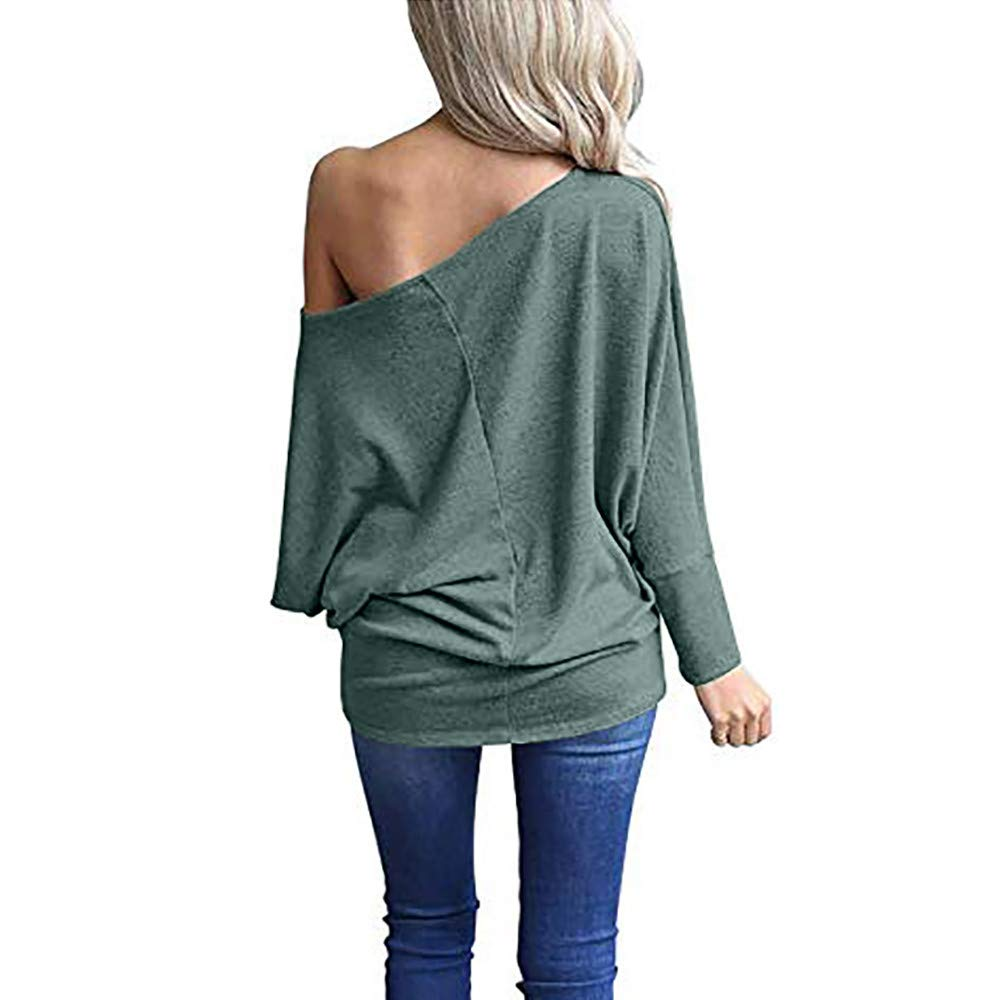PERFURM Women Off Shoulder Loose Pullover Sweater Batwing Sleeve Knit Jumper Top Blouse Valentines Day Present Gift