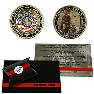 Thin Red Line Firefighter Support Gift Set St. Florian Challenge Coin & Thank You Card - Fireman Gift from Armed American Supply