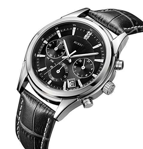BUREI Mens Business Casual Elegant Chronograph Sports Watch with Genuine Leather Strap (Black-Leather Strap)
