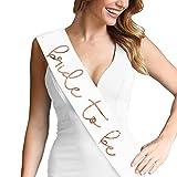 Lovely Bride To Be Metallic Rose Gold Satin Sash - Bachelorette Party Decorations White Sash(LvlyB2B RsGld) Wht
