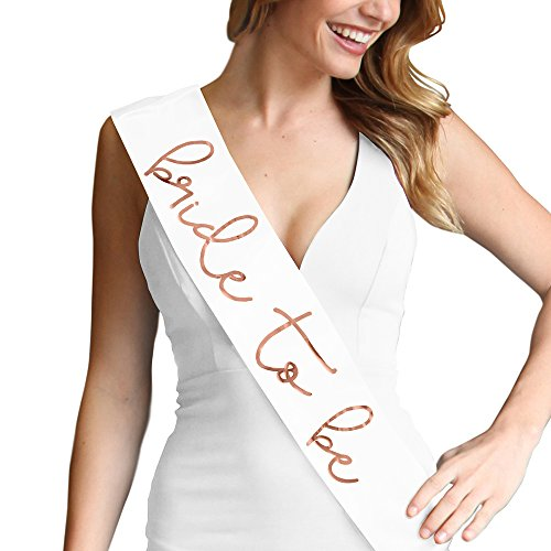 Lovely Bride To Be Metallic Rose Gold Satin Sash - Bachelorette Party Decorations White Sash(LvlyB2B RsGld) Wht by RhinestoneSash (Image #3)