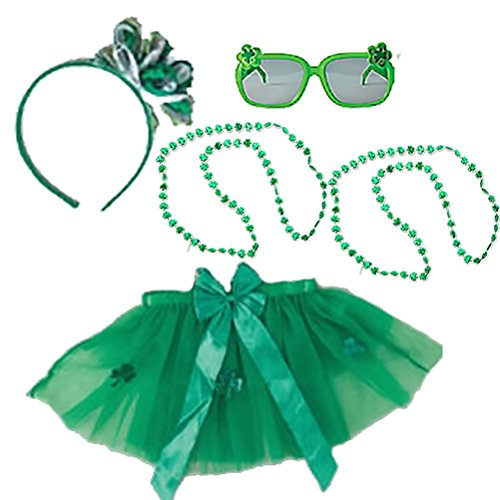 St Patricks Day Costume Set Kids Party Accessory Kit Irish Bow Headband Head Wear Costume Green Bead Necklace Tutu Sunglasses Pack for Childs Parade or (Leprechaun Costumes For Kids)